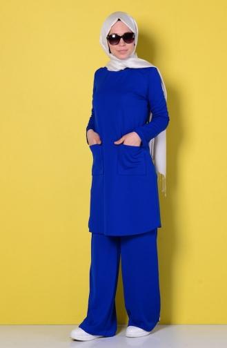 Tunik Pantolon İkili Takım 1071-01 Saks Sefamerve