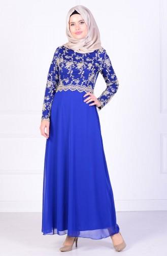 Saxon blue İslamitische Avondjurk 52488-03