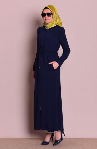 Abaya a Fermeture 35709-01 Bleu Marine 35709-01