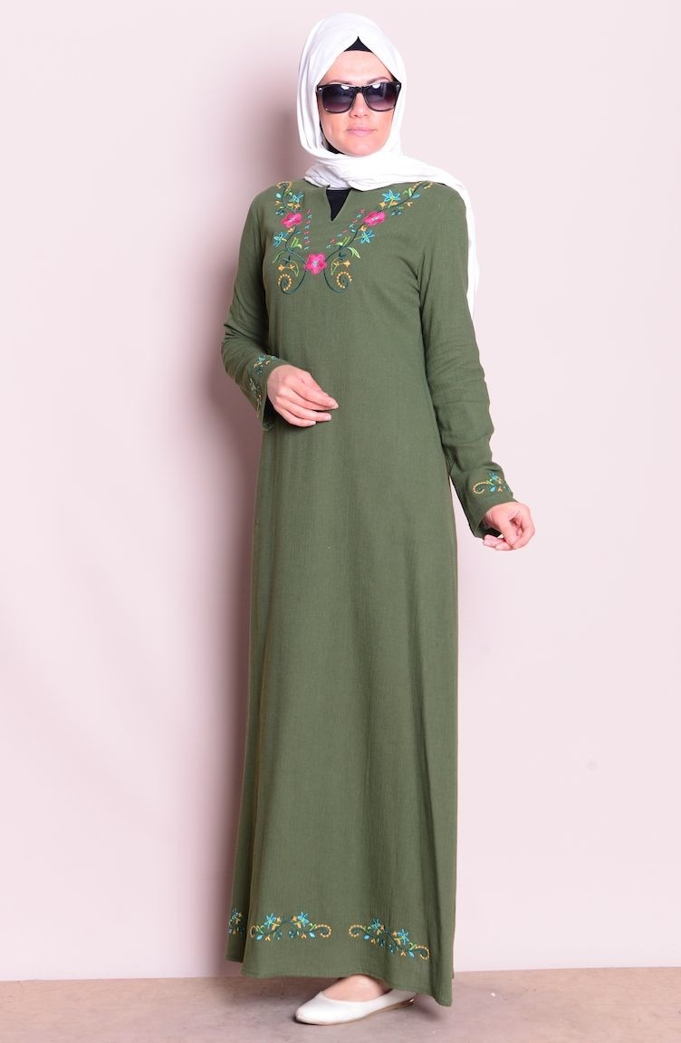 97b594e107eae Nakışlı Şile Bezi Elbise 2485-12 Haki Yeşil