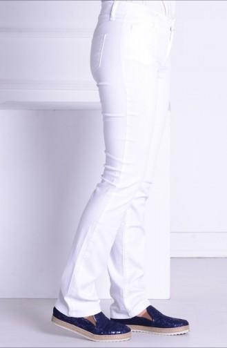 Sefamerve Gabardin Düz Paça Pantolon 0680-03 Beyaz 0680-03