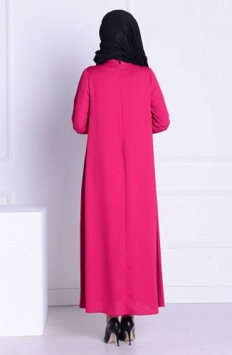 SUKRAN Crepe Necklace Dress 4182-06 Fuchsia 4182-06