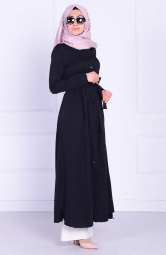 Önden Düğmeli Kemerli Elbise 1808-04 Siyah 1808-04
