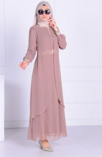 Güpürlü Şifon Elbise 52221A-10 Vizon