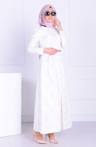 Ecru İslamitische Avondjurk 5103-01