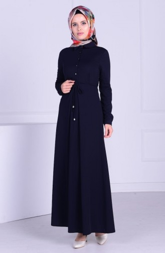 Düğmeli Elbise 3290-03 Lacivert 3290-03
