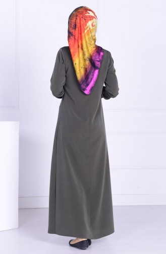 Krep Kolyeli Elbise 1030-03 Haki Yeşil 1030-03