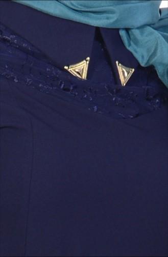 Dantel Detaylı Gömlek Yaka Elbise 7127-04 Lacivert 7127-04