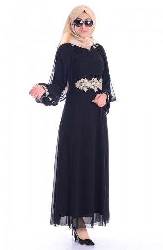 Şifon Abiye Elbise 52483-05 Siyah Sefamerve