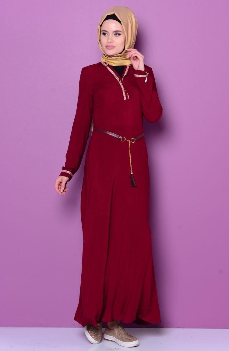 fdf8486ab50 Claret red Dress 5110-01 ...