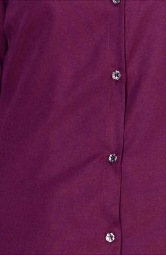 Düğmeli Tunik 2101-14 Mürdüm 2101-14