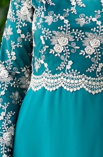 Dantelli Abiye Elbise 52488-07 Çağla Yeşili
