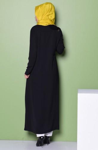 Saten Detaylı Ferace 35710-01 Siyah