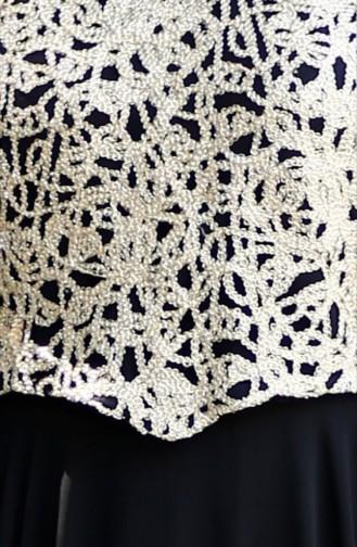 Robe de Soirée Bordée 1109-01 Noir 1109-01