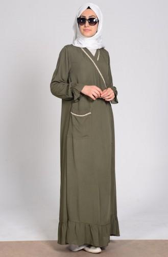 Viskon Namaz Elbisesi 1001-03 Haki Yeşil 1001-03