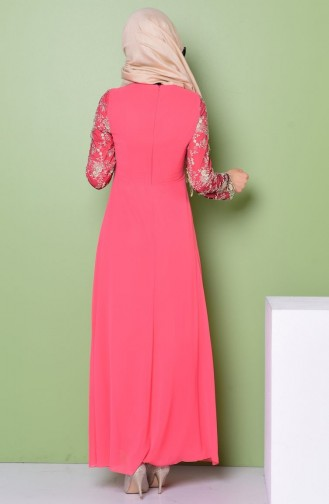 Coral Islamic Clothing Evening Dress 52488-09