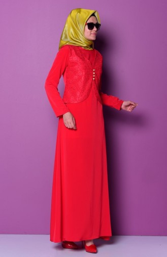 Dantel Yelekli Uzun Abiye Elbise 7023-05 Kırmızı Sefamerve