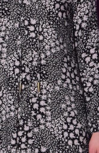 Çıtır Desenli Elbise 0618P-04 Siyah Bej 0618P-04