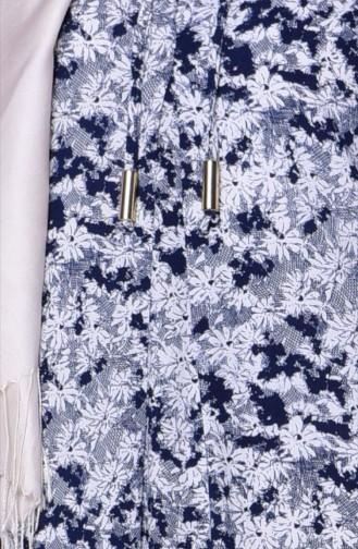 Çıtır Desenli Elbise 0618P-05Lacivert Beyaz 0618P-05