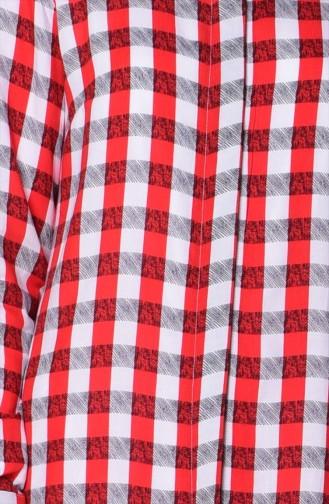 Kareli Viskon Tunik 1333-01 Kırmızı Ekru 1333-01