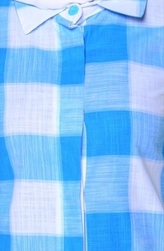 Kareli Tunik 4004-04 Mavi Beyaz 4004-04