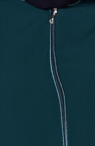 Fermuarlı Ferace 0476-02 Zümrüt Yeşil