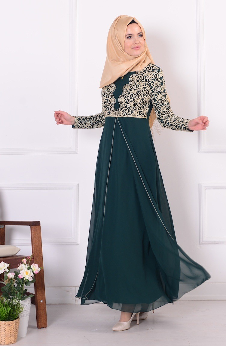 Emerald Islamic Clothing Evening Dress 4085-04