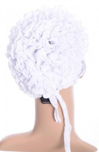 Dantelli Fırfırlı Bone 02 Beyaz