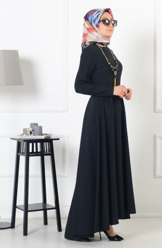 بيزلايف فستان بتصميم غير متماثل الطول 4055-02 لون أسود 4055-02
