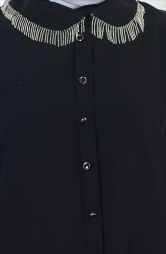Yaka Detaylı Krep Tunik 5073-03 Siyah 5073-03