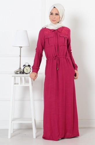 Belden Büzgülü Düğmeli Elbise 165037-03 Fuşya Sefamerve