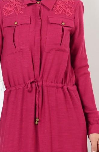 Belden Büzgülü Düğmeli Elbise 165037-03 Fuşya 165037-03