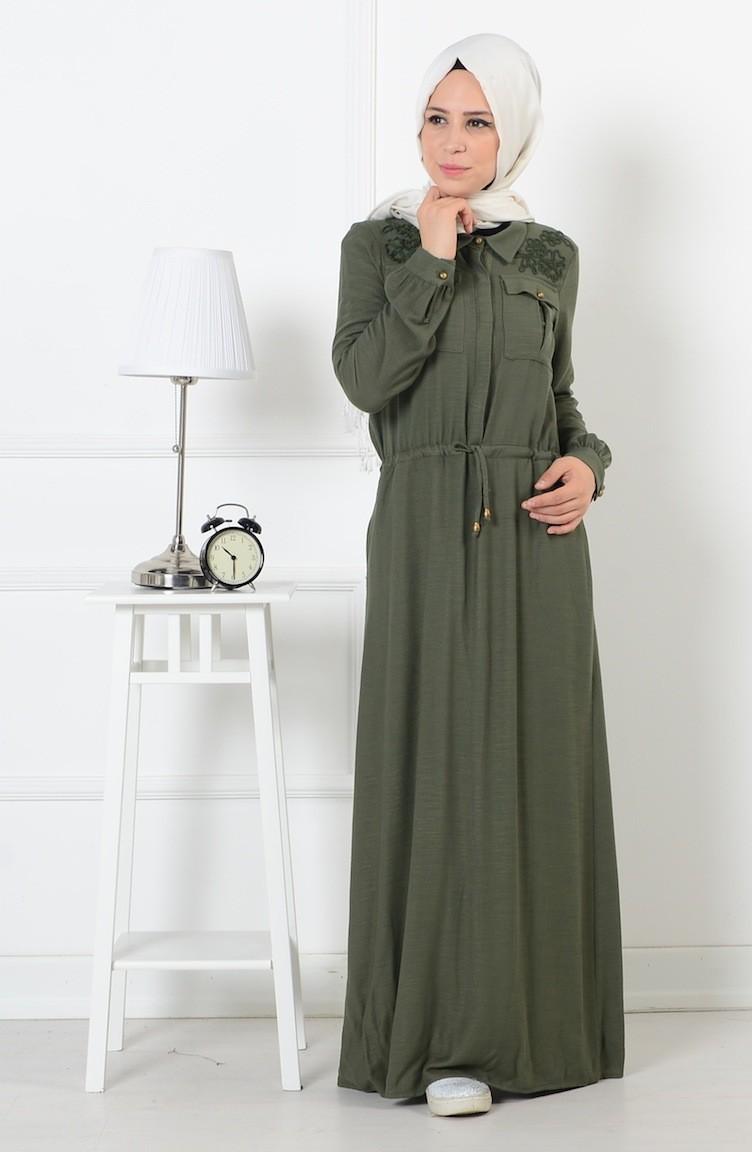 0725aaf666595 Belden Büzgülü Düğmeli Elbise 165037-04 Haki Yeşil