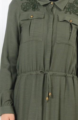 Belden Büzgülü Düğmeli Elbise 165037-04 Haki Yeşil 165037-04