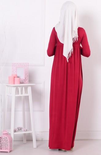 Pileli Elbise 0729-03 Kırmızı 0729-03