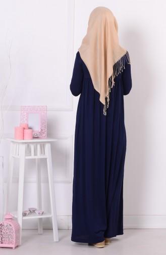 فستان بطيات لون كحلي  0729-04
