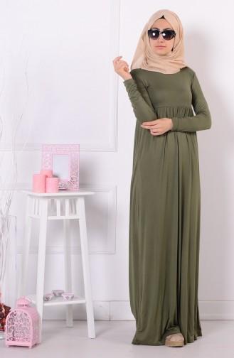 Pileli Elbise 0729-08 Haki Yeşil 0729-08
