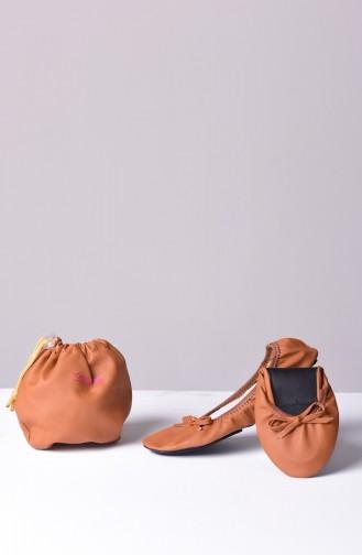 Tobacco Brown Woman Flat Shoe 01
