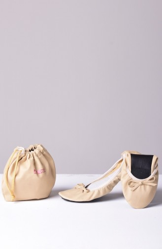 Cream Woman Flat Shoe 02