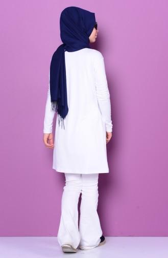 Sefamerve Body İslamique Grande Taille 0730-02 Blanc 0730-02