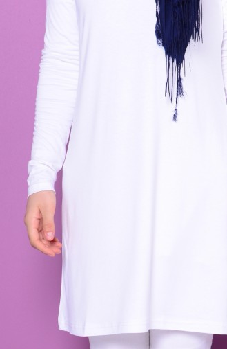 Sefamerve Übergröße Tunika aus Gekämmte Baumwolle 0730-02 Weiß 0730-02
