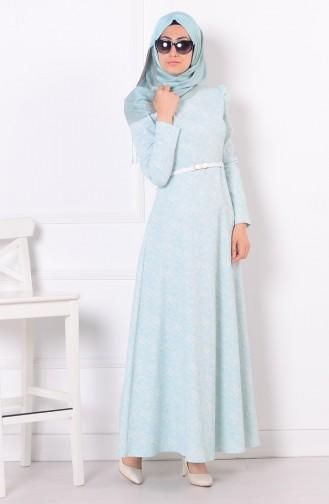 Kemerli Kloş Elbise 7025-02 Buz Mavi