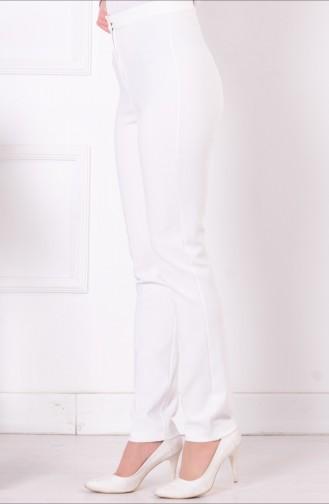 Düz Paça Pantolon 1004-06 Beyaz Sefamerve