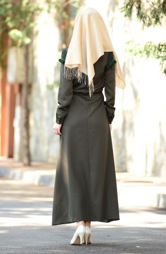 Khaki İslamitische Jurk 4061-01