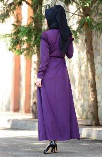 Belden Büzgülü Dantelli Elbise 4061-03 Mor