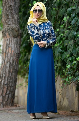 Oil Blue Islamic Clothing Evening Dress 52488-12