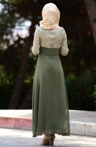 Khaki İslamitische Avondjurk 2369-07
