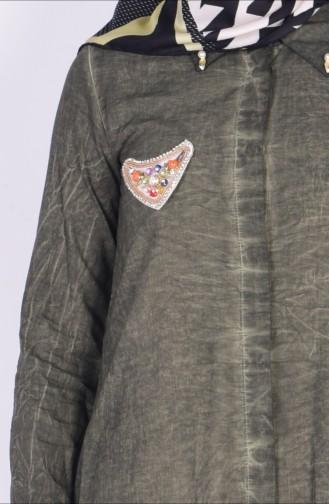 Gizli Düğmeli Uzun Tunik 1001A-02 Yeşil 1001A-02