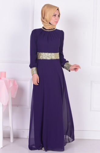 Dark Purple İslamitische Avondjurk 2398-13