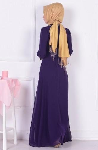 Dark Purple Islamic Clothing Evening Dress 2398-13